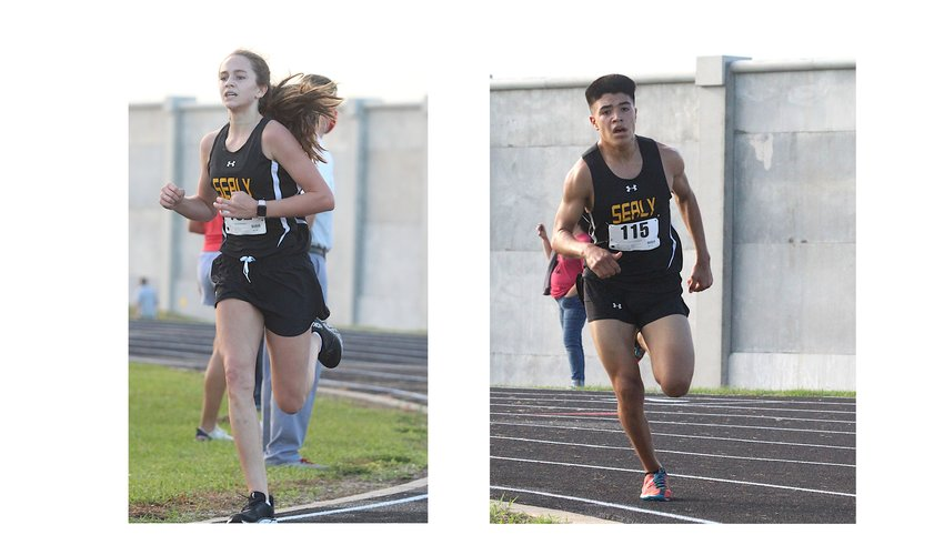 Annabelle Williams, left, was the Lady Tigers' second-fastest finisher at last Saturday's Weimar Invitational and took 17th overall. Pictured is Williams finishing her race at the Sealy Invitational on Sept. 18. Xavier Olvera, right, was the top Tiger finisher at last Saturday's meet in Weimar to help Sealy take the top spot in the boys' team competition. Pictured is Olvera in the homestretch of his race at the Sealy Invitational on Sept. 18.
