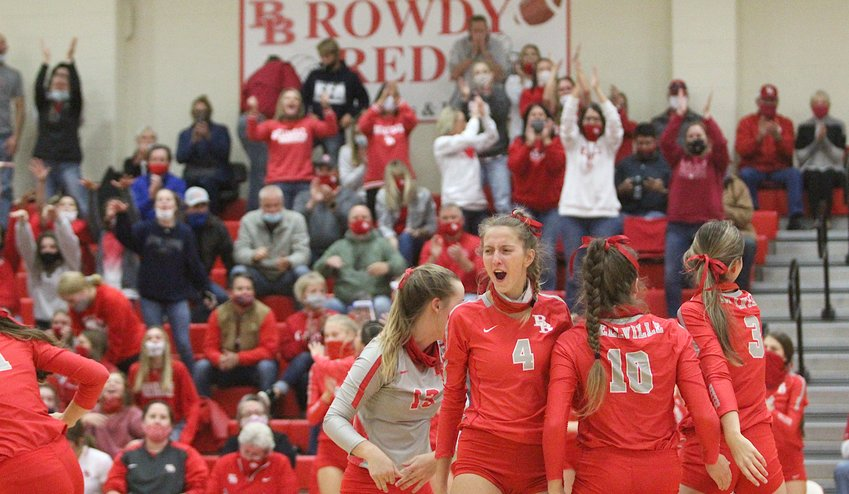The Bellville Brahmanettes used the home crowd to their advantage and swept the Sealy Lady Tigers to claim the District 24-4A Championship and top seed entering the playoffs. Bellville opens the postseason ranked ninth in Class 4A. Pictured is junior Lexi Higgins (4) celebrating with her teammates after scoring a point in the first set.