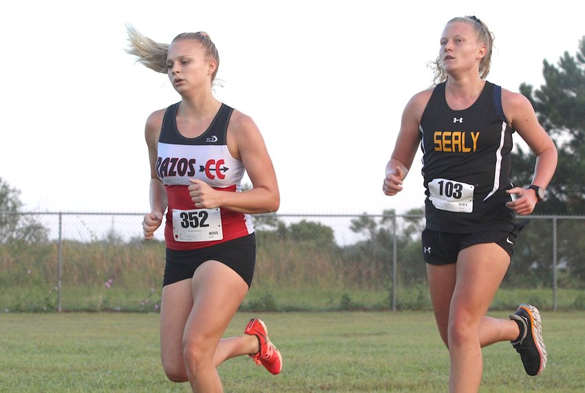 Brazos senior Maddie Kneip closed her cross country career at the regional championship earlier this week in Huntsville. Pictured is Kneip competing in the Sealy Invitational meet at Sealy High School on Sept. 18.