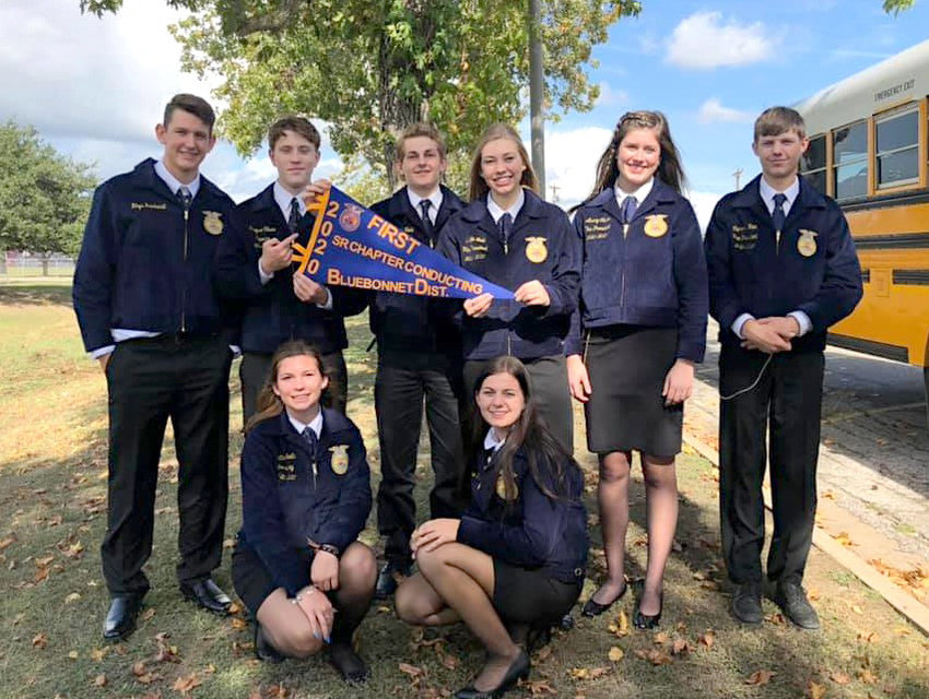 Sealy FFA's senior chapter conducting team was one of five advancing from last Saturday's District LDE. Team members include Avery Oliver, Rayne Wallace, Cameron Hein, Brayden Ashorn, Grayson Oliver, Brylie Nedd, Garret Nedd, Hattie Schalla and Rhys Reichardt.