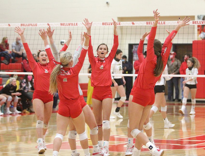 The District 24 Champion Bellville Brahmanettes claimed the Region III championship with a sweep of China Spring to clinch a spot in the state semifinals for the first time since 2013 when Decatur eventually beat them in the finals. Pictured are the Brahmanettes celebrating a point during the tie-breaking match to determine the district champion against Sealy at home on Oct. 27.