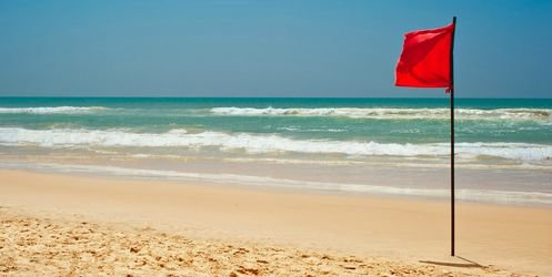 Volusia Beach Safety Flying Red Flag