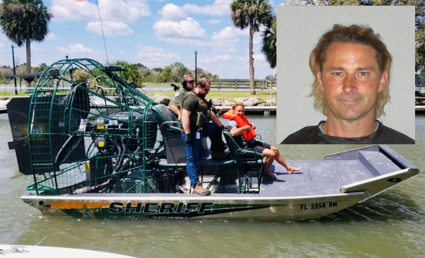Roy in the custody of the Flagler County Sheriff's Office Marine Unit plus his booking photo