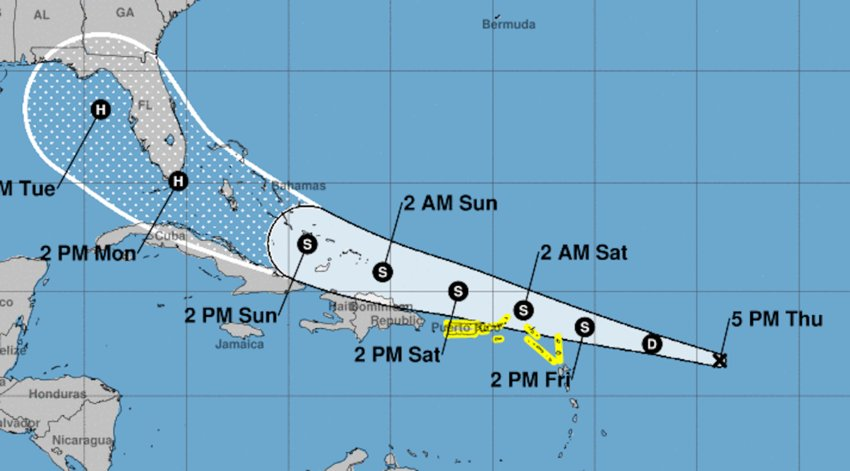 The forecast track of TD 13, which could become Tropical Storm Laura by Friday (August 21st)