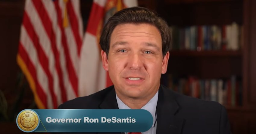 Governor Ron DeSantis addressing residents in a video regarding vaccine distribution and new therapeutics for COVID-19