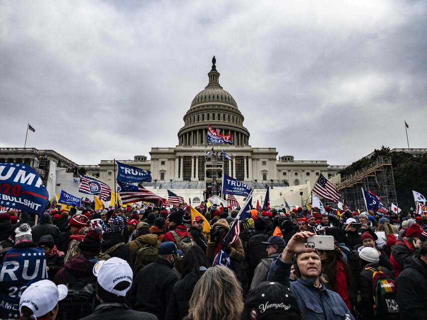 Pro-Trump supporters storming the Capitol, January 6, 2021