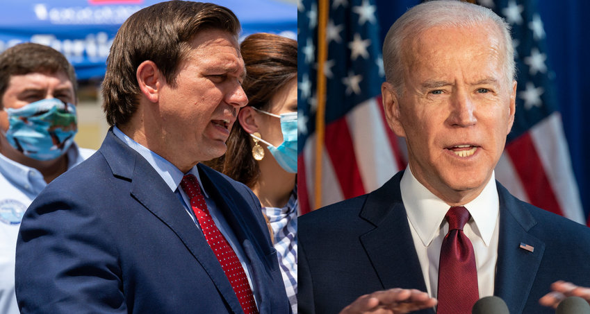 Florida Governor Ron DeSantis and President Joe Biden