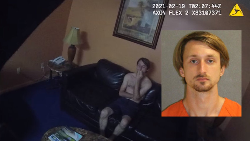 A screenshot from body camera footage of Tyler Thompson's arrest. Inset: Thompson's booking photo