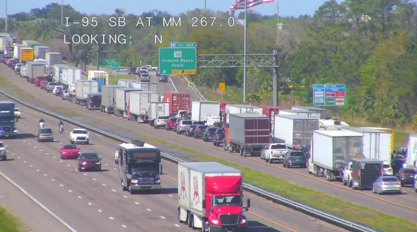 The view from a traffic camera on northbound I-95 as traffic came to a halt near Granada Boulevard in Ormond Beach Thursday afternoon