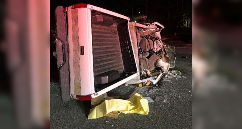 The Titusville man's destroyed pickup truck