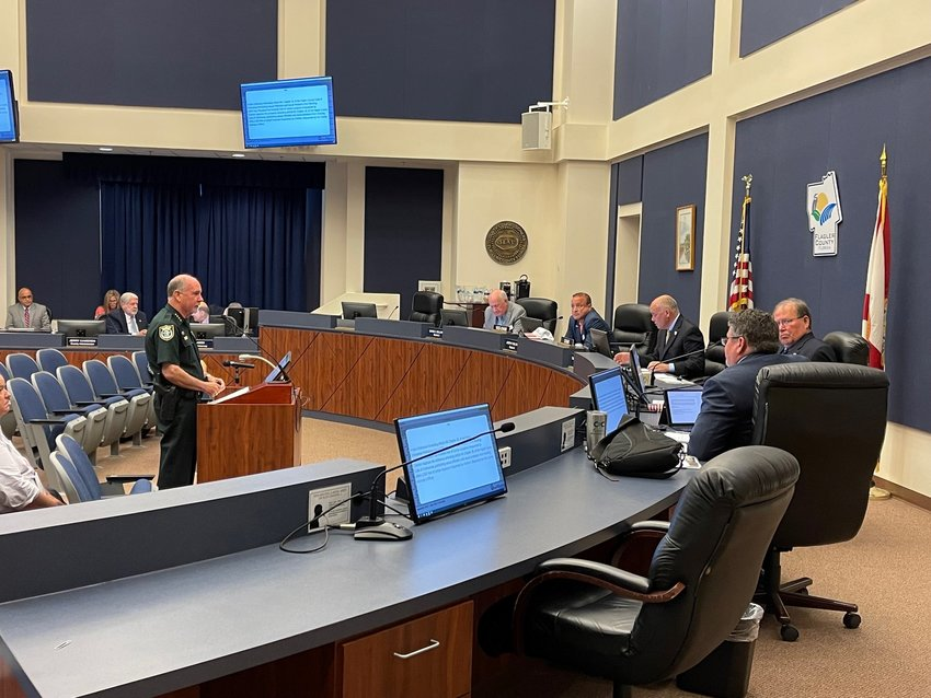 Flagler Sheriff Rick Staly speaking to commissioners at the meeting