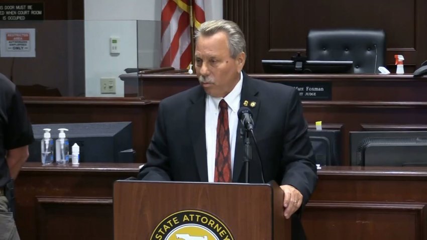 State Attorney RJ Larizza speaking to reporters from the Justice Center in Daytona Beach