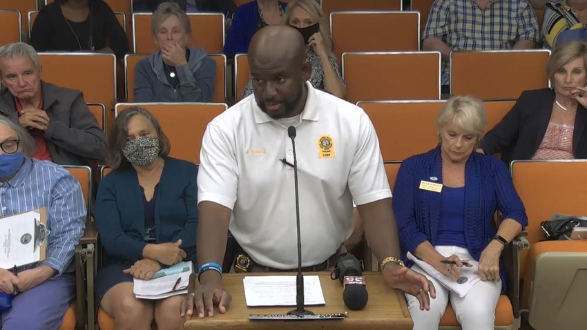 Daytona Beach Police Chief Jakari Young speaking to the Daytona Beach City Commission about the Daytona Truck Meet