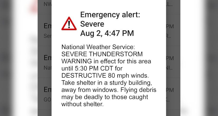 A test alert showing the National Weather Service's new damage severity tag