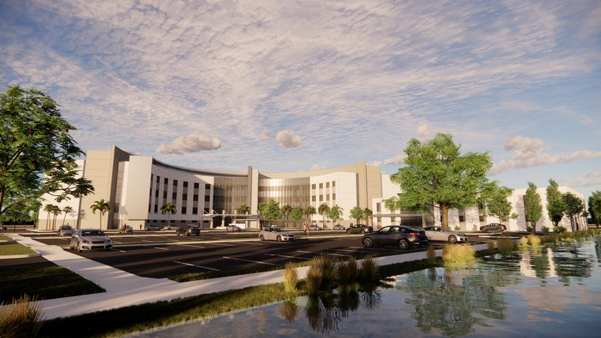 A rendering of the front of the new hospital to open in Palm Coast