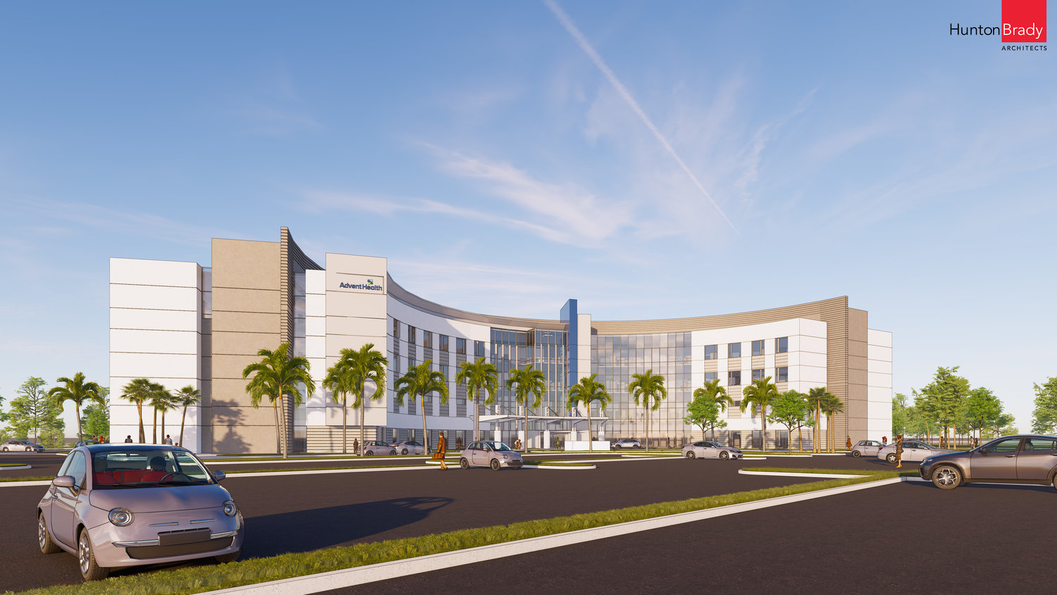 An outside rendering of the upcoming 100 bed hospital