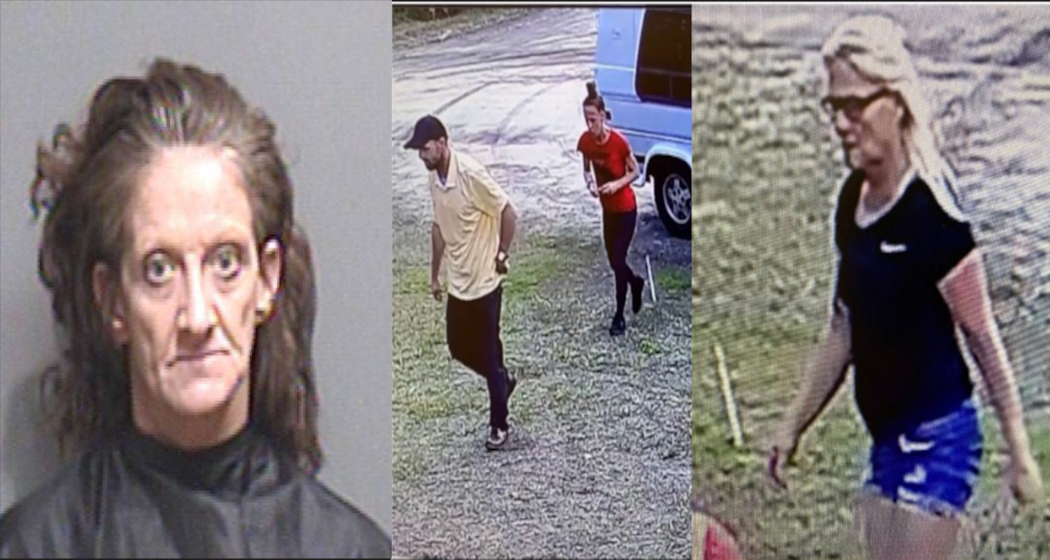 Left: Angelia Newsome's booking photo, Center & Right: The three unidentified suspects still wanted by the Flagler County Sheriff's Office