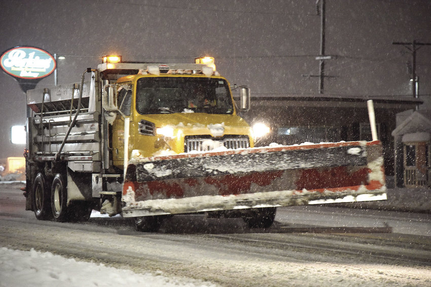 A MoDOT truck travels up South Limit Avenue toward Broadway Boulevard in Sedalia at 6:30 a.m. Saturday, Jan. 12, 2019.