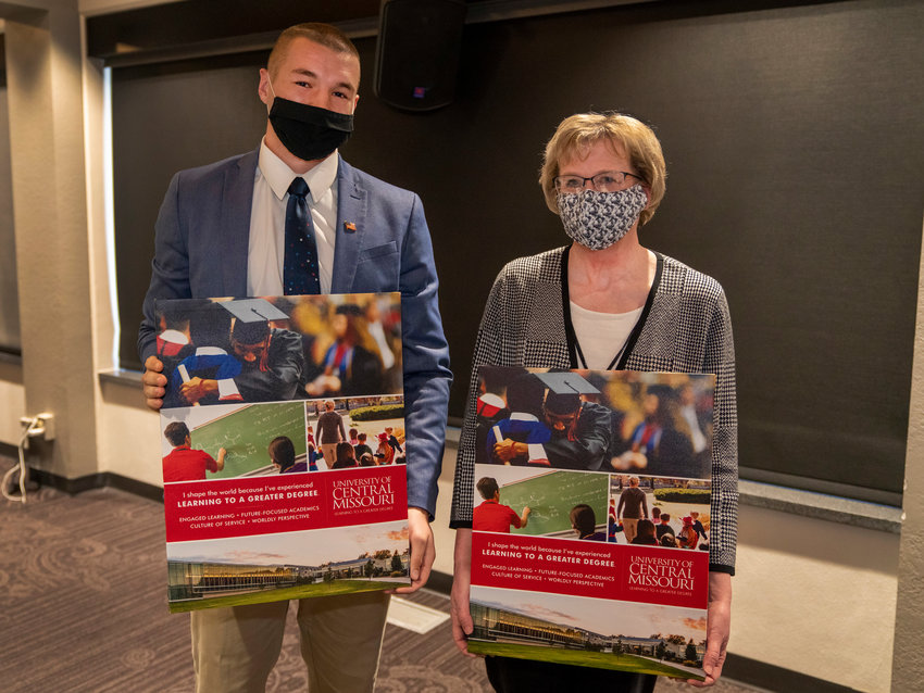 Justin Cobb, left, a senior political science major from Taos and Ann McCoy, Ph.D., associate dean of the College of Education, received Learning to a Greater Degree Awards for the fall 2020 semester during the December meeting of the University of Central Missouri Board of Governors.