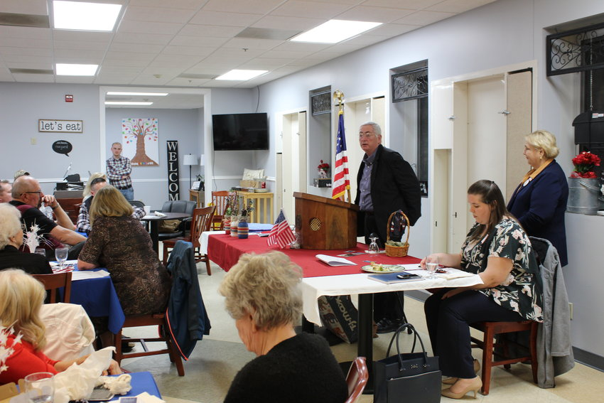 James Williams speaks to attendees during the Johnson County Republican Women's Club candidate forum for Johnson County Community Health Services Board of Trustees candidates on Monday, March 1.