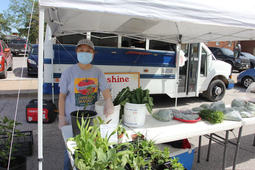 Sue Chen of Sunshine Farm offers a variety of produce, plants and food, including steamed buns and apple dumplings, for sale on Saturday, May 1, the first day of the 2021 Farmers' Market. Chen plans to be set up every Saturday of the season.