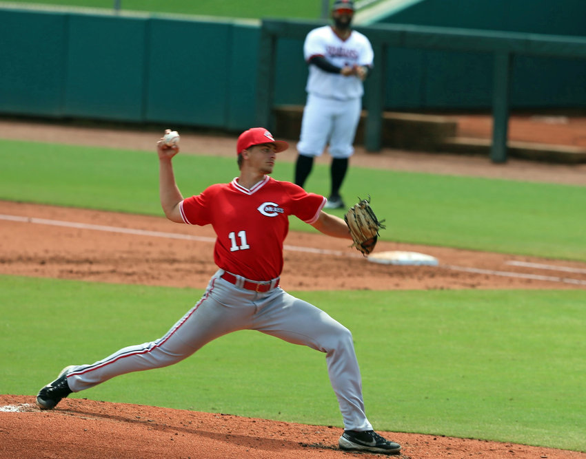 Central Missouri pitcher Conor Dryer throws a pitch during the 2021 NCAA Division II World Series at the USA Baseball Complex in Cary, North Carolina.
