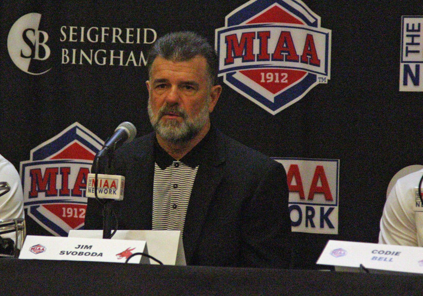 Mules football head coach Jim Svoboda speaks at the podium during the 2021 Football Media Day on Tuesday, July, 27, at the Little Theatre in Kansas City, Missouri.