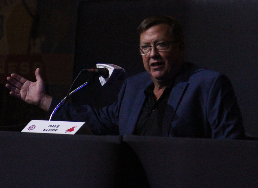 Jennies basketball head coach Dave Slifer speaks from the podium during MIAA Basketball Media Day on Tuesday, Oct. 12, at the College Basketball Experience in Kansas City.