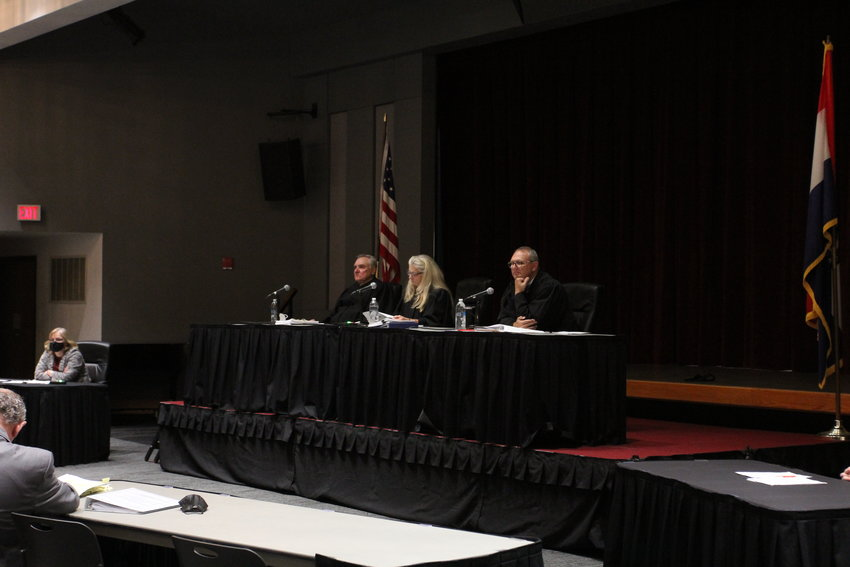 From left, James Welsh, special judge; Cynthia Martin, presiding chief judge; and Mark Pfeiffer of the Missouri Court of Appeals, Western District, hear an argument in a case Wednesday, Oct. 13, in the Elliott Student Union at the University of Central Missouri.