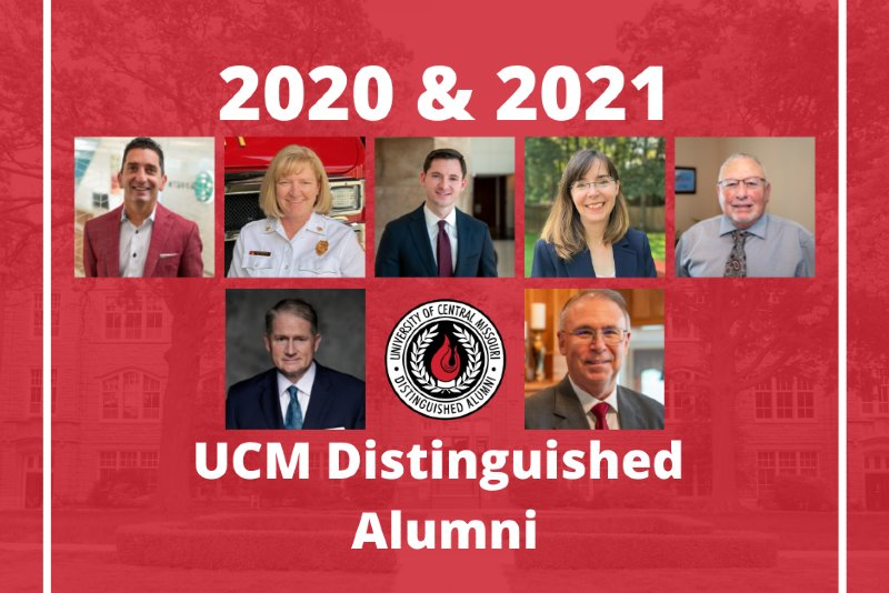 This composite photo of individuals to be honored during the University of Central Missouri's 2021 Distinguished Alumni Dinner, includes 2020 and 2021 honorees. Top row, from left, 2020 honorees include Faruk Capan,'92; Donna Lake, '92; Derek Wiseman, '11; Melissa Willis, '92; John Culp, '69 and '75. Bottom row, from left, 2021 honorees include Russ Ball, '81 and Joseph Dandurand, '77.