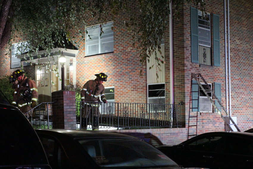Crews work the scene of a structure fire Saturday, Oct. 16, in the 300 block of Franklin Street.