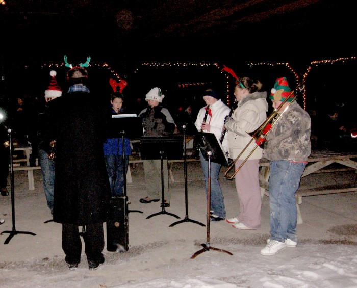 Members of the Rose City Middle School band play at the Rose City tree lighting Nov. 4.
