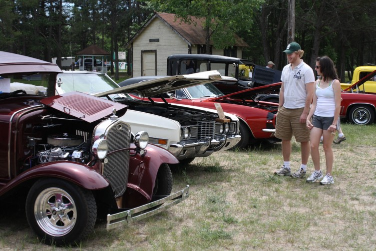 Bryan Grezeszak and Megan Hendrick of Clear Lake take a look at some of the classic cars on display.