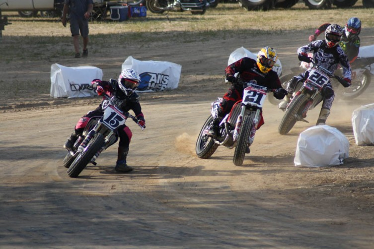 Nichole Cheza leads Jared Mees and Brandon Bergen during practice for the pro class Wednesday night.