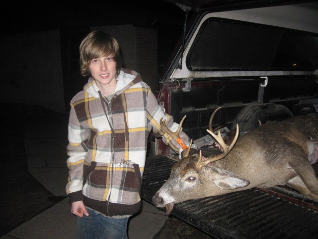 John Boddy bagged this 8 point buck with a well placed 200 yard shot while hunting with his dad.