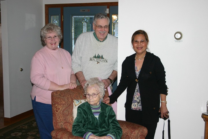 Among the attendees at the first anniversary party at Harlin are (top, from left) Kay and Charles Richardson and caregiver Carmen Peters and (bottom) Kay's mother Bertha Stokes, who will turn 94 on March 25.