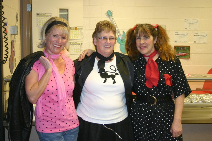 W-P cafeteria workers (from left) Patti Raushi, Virginia Hasty, and Donna Roby get in the 50s spirit March 5.