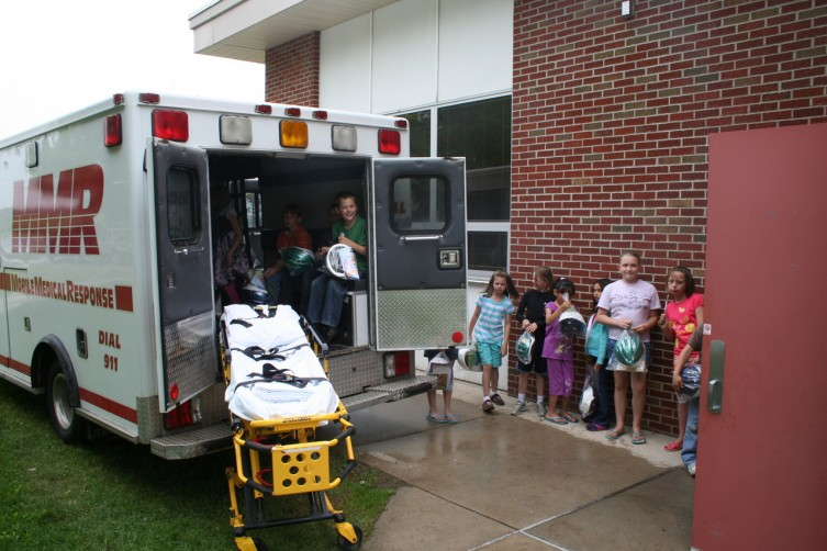 Students of Sterling Elementary visit an Mobile Medical Response Ambulance during a Safety Day at their school on Friday, May 21. Students at the elementary enjoyed also a safety festivities and an Ice Cream social.