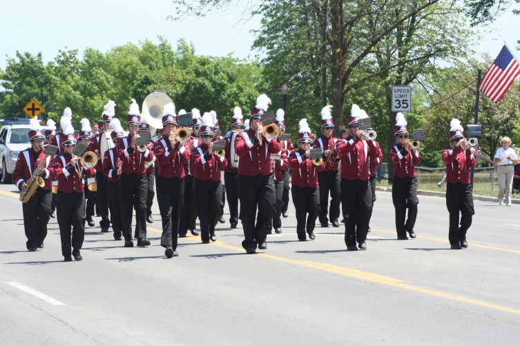 The AuGres High School band performs during the AuGres Memorial Day parade on Sunday.
