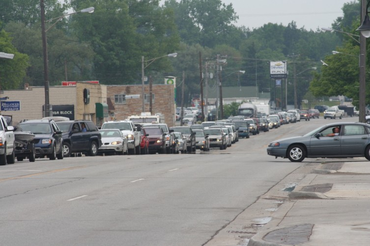 Traffic is snarls in the streets of down town Standish on Monday. Many drivers where heading south on US-23 as they head home after the holiday weekend.