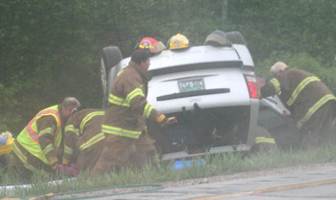 Emergency crews respond to a rollover accident around mile marker 191 on Northbound I-75. The accident happened just north of the Standish exit, and had traffic backed up across the M-61 bridge. The accident took place around 6 pm, Friday, June 4, 2010,  and reportedly required the jaws of life.