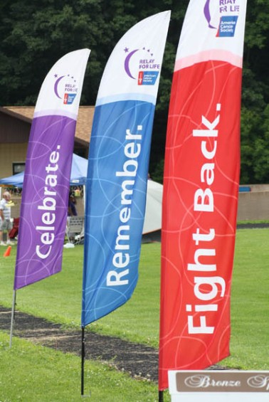 The Relay For Life banners fly in the breeze.