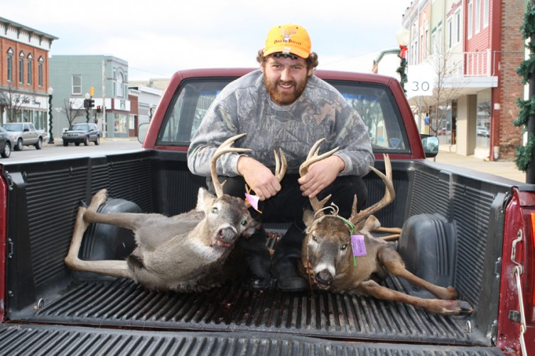 Tom Schmitt of West Branch shot two eight-point bucks in a three-day span in Rose City. He shot one of the bucks (at left) at 8:30 a.m. Wednesday, Nov. 17, and shot the other buck (at right) the evening of Monday, Nov. 15.