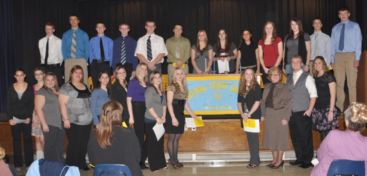 Hale High School conducted its National Honor Society induction ceremony on Wednesday, Nov. 17. According to Hale Area Schools Superintendent Rhonda Provoast, 41 percent of HHS juniors were inducted into the NHS. Members of the Hale NHS are: (front, from left) Kaitlin Scott, Meggan Muhle, Sarah Savin, Mandee Fleckenstein, Ashleigh Tatroe (treasurer), Lindsay Weaver (secretary), Stacey Eno, Shelby Rhein, Halley Wolkens, Karissa Haskin, Mrs. Lixey (adviser), Matthew Provoast (president), Allison Wilson (vice president); (back, from left) Jacob Rogers, Benjamin Katterman, Caleb Parent, Cody Wilson, Corey Bates, Brendon O'Dell, Kelsey Reilly, Kaitlyn Windsor, Marissa Andary, Staci Saurer, Christina Smith, Aaron Anderson, and Codie Hjorth.