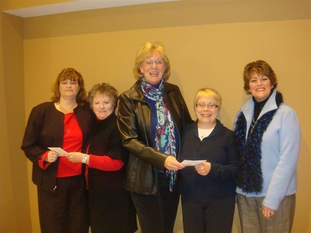 Donating funds, left to right, Deb Marthaler  recipient for Au Gres Christian Charities, presented by Vice Pres. Pam Findlay, Josie Meyer Pres. donating to Sandy Proulx Pres. Arenac County Historical Museum and Yvonne Schell Treasurer of the AWIB.