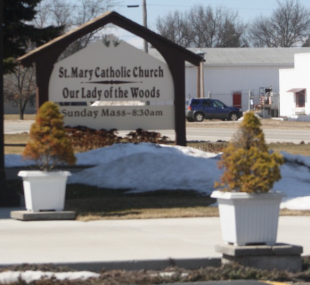 A pair of trees is stationed near the parking lot at St. Mary Catholic Church in Mio.
