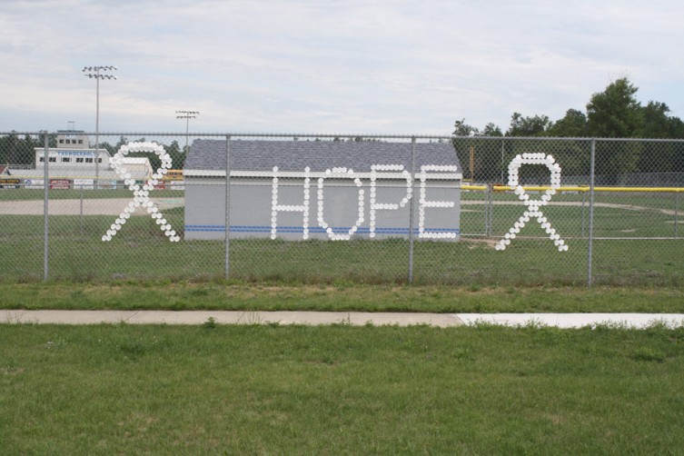This sign was displayed outside the Mio AuSable baseball field on the day of the run.