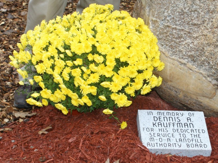 A memorial marker for Kauffman is placed outside the MOA office.