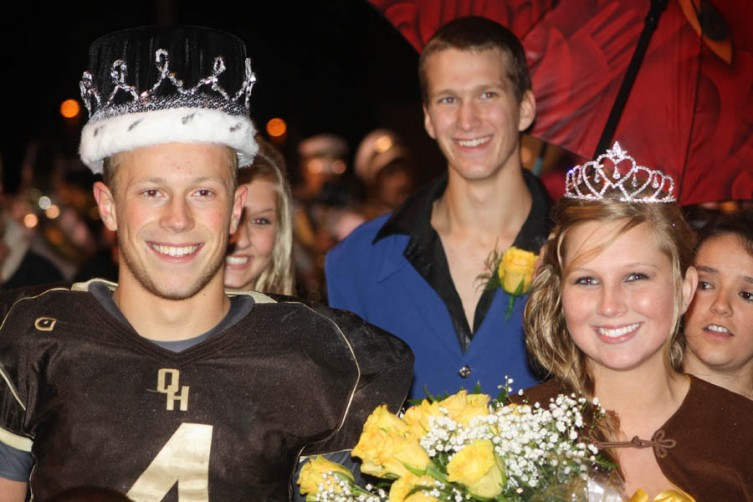 Sheldon Roberto and Brittany Little smile for the camera after being named Homecoming King and Queen.