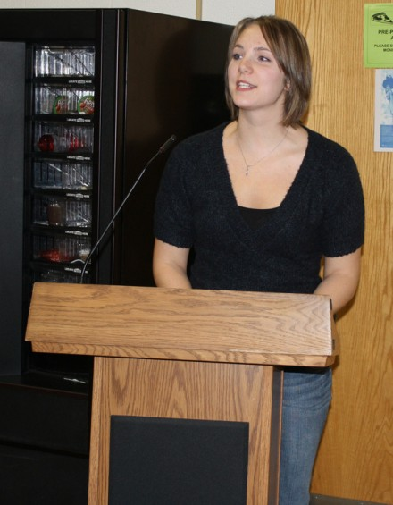 Eberle's sister, Christin Chabot of Alpena, thanks guests for attending the dinner.